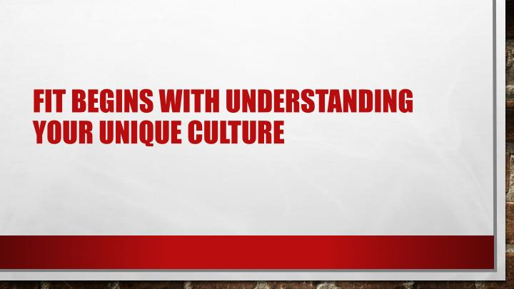 Fit begins with understanding your unique culture