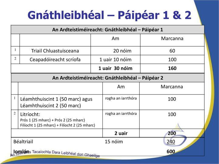 Gnáthleibhéal – Páipéar 1 & 2