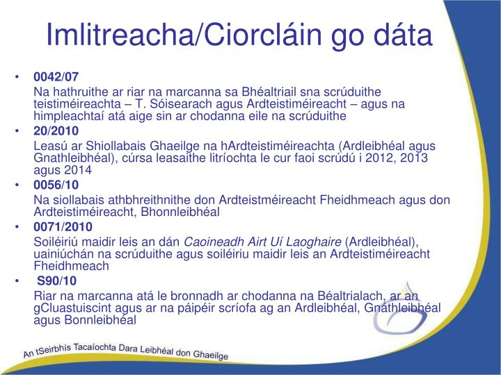 Imlitreacha/Ciorcláin go dáta
