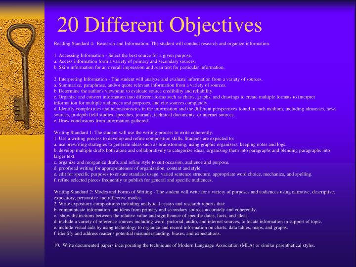 20 Different Objectives