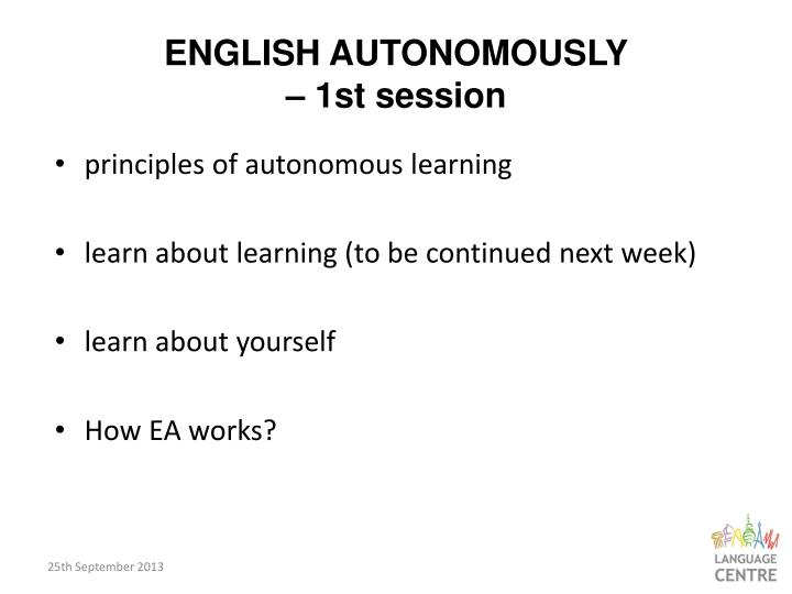English autonomously 1st session