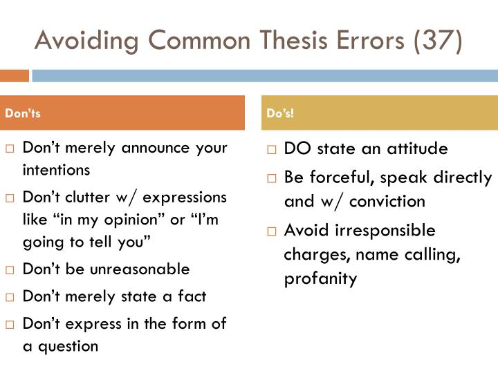 Avoiding Common Thesis Errors (37)