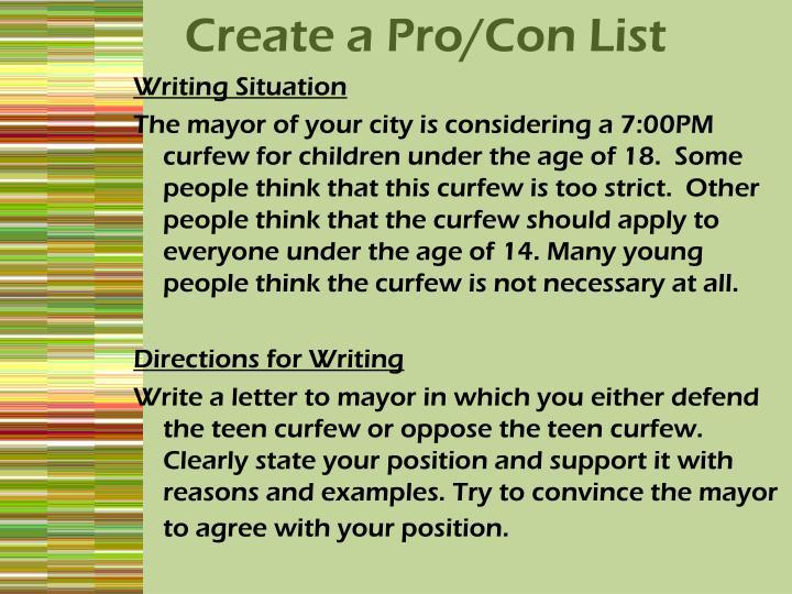 Create a Pro/Con List