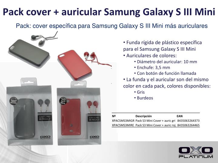 Pack cover auricular samung galaxy s iii mini