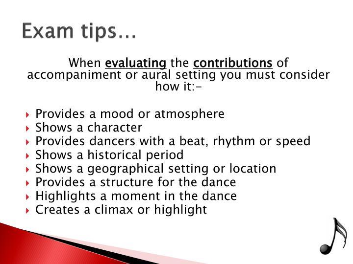 Exam tips…