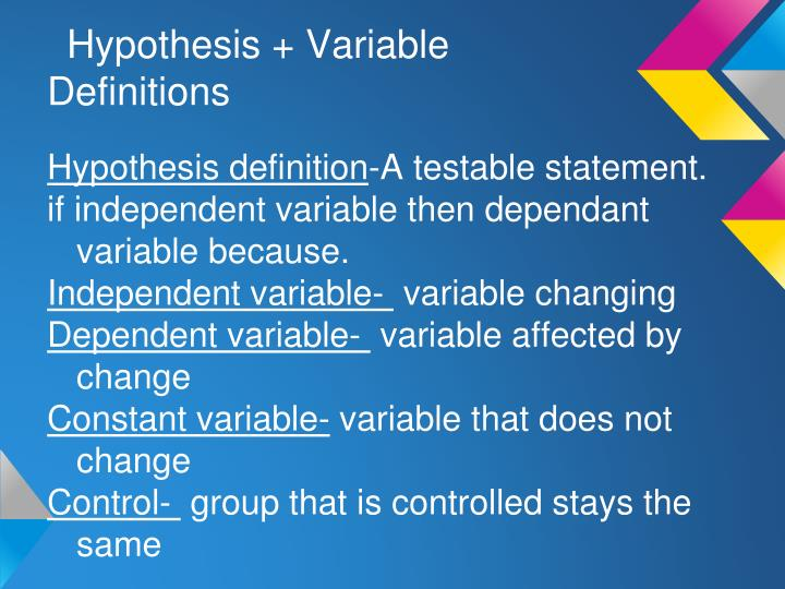 Hypothesis variable definitions