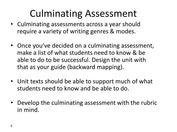 Culminating Assessment