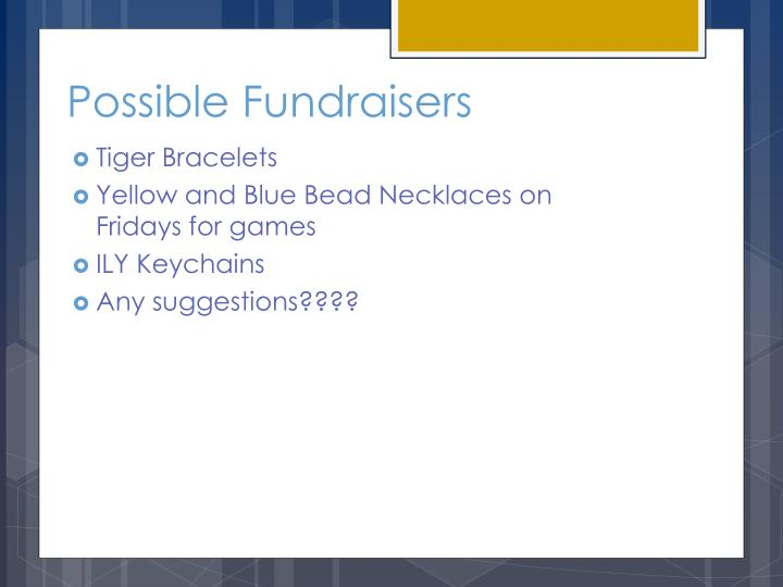 Possible Fundraisers