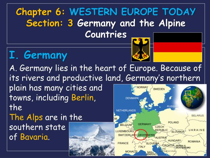 Chapter 6 western europe today section 3 germany and the alpine countries