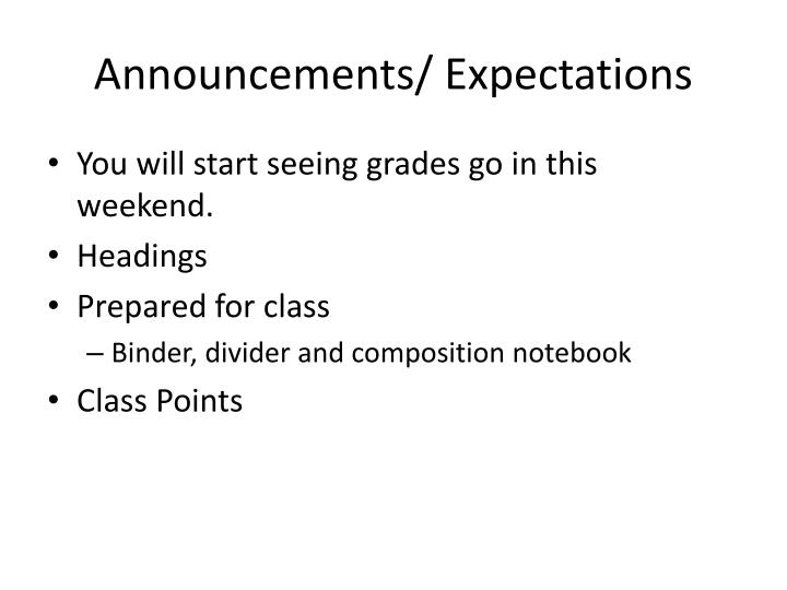 Announcements/ Expectations