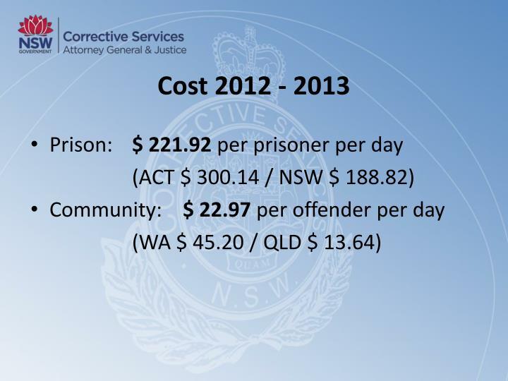 Cost 2012 - 2013