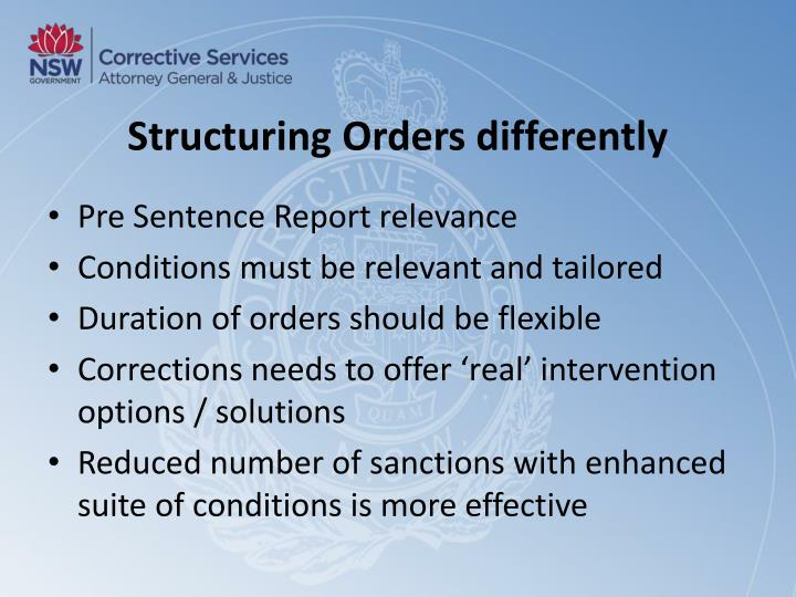 Structuring Orders differently