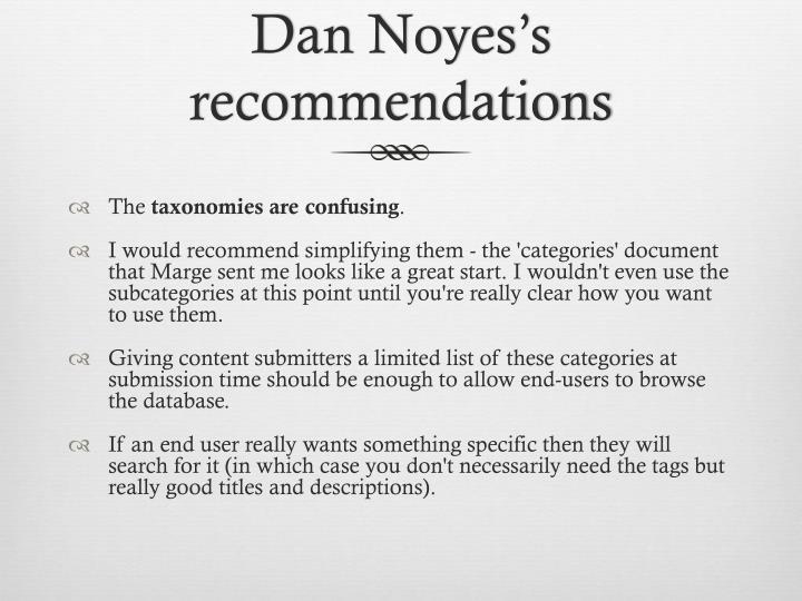 Dan Noyes's recommendations