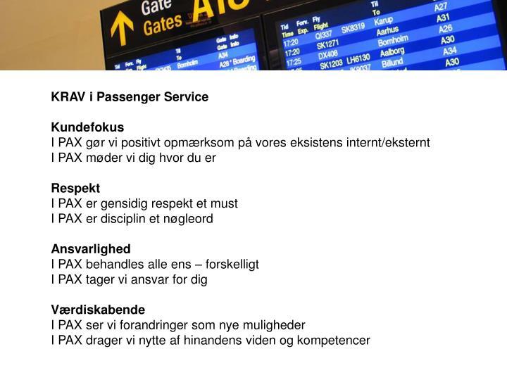 KRAV i Passenger Service