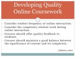 developing quality online coursework