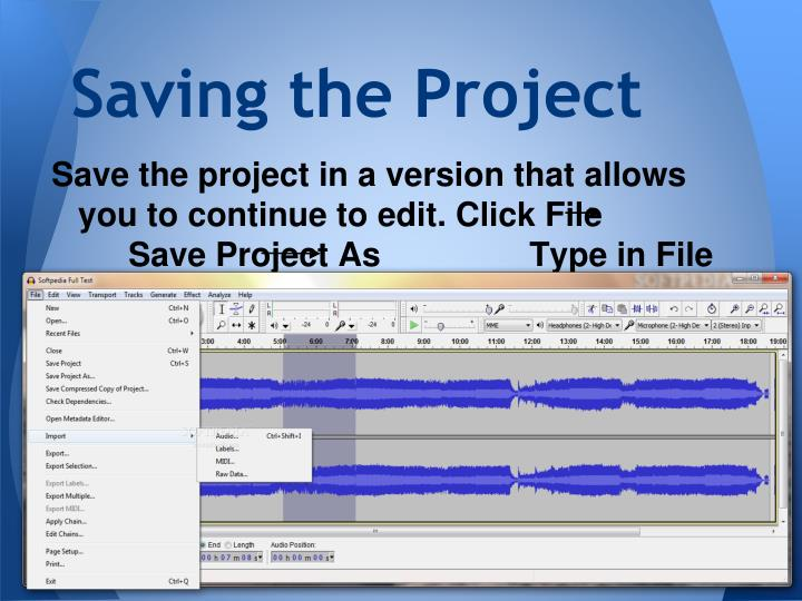 Saving the Project