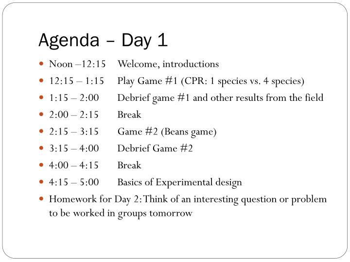 Agenda – Day 1
