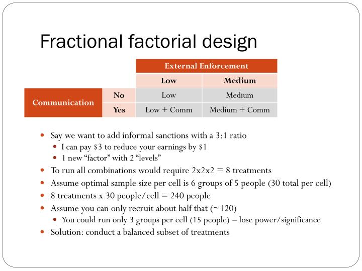 Fractional factorial design