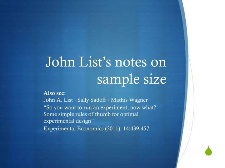 John List's notes on sample size