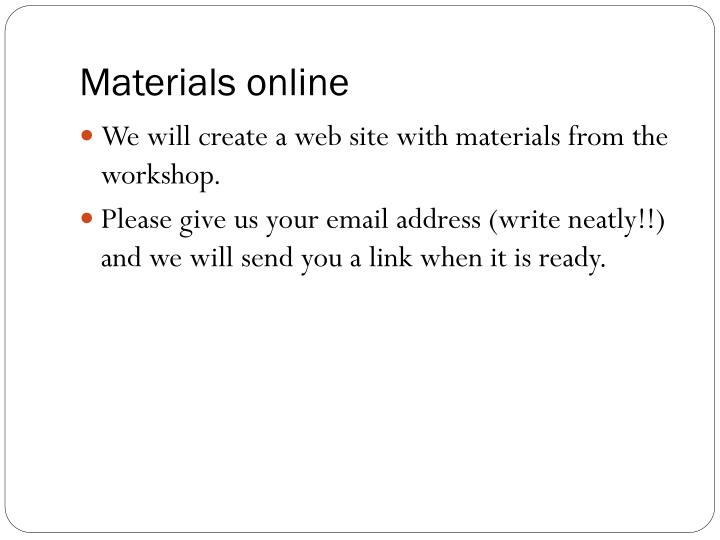 Materials online