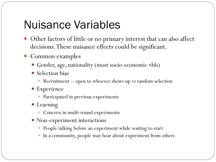 Nuisance Variables