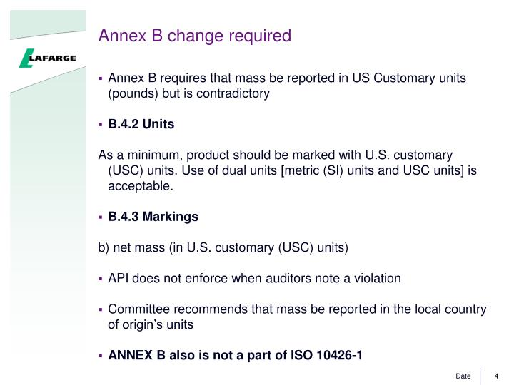 Annex B change required