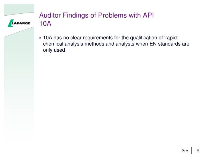 Auditor Findings of Problems with API 10A