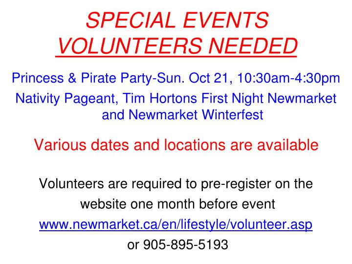 Special events volunteers needed