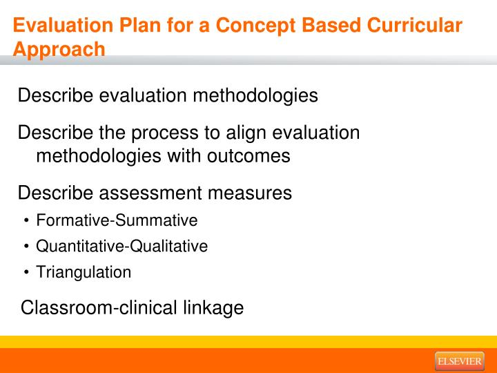 Evaluation Plan for a Concept Based Curricular Approach