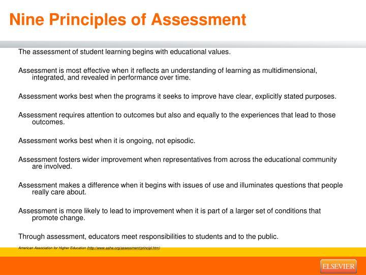 Nine Principles of Assessment