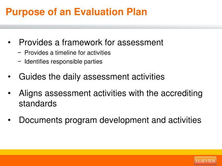 Purpose of an Evaluation Plan