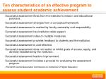 ten characteristics of an effective program to assess student academic achievement