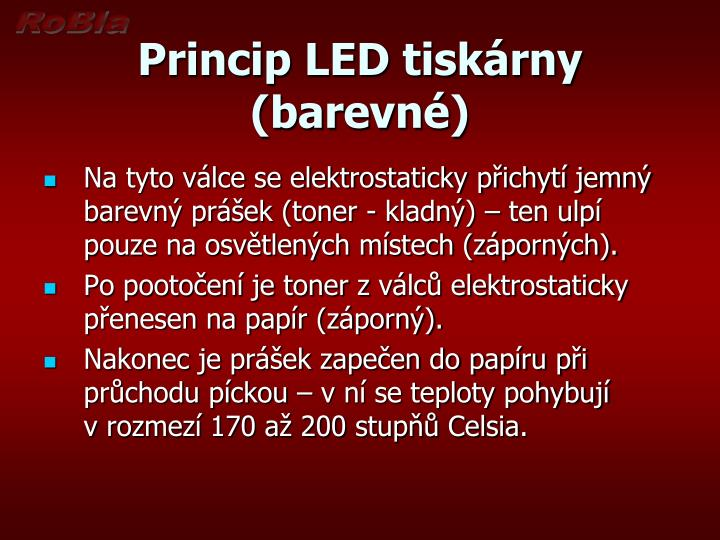 Princip LED tiskárny