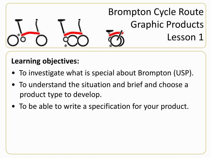 Brompton cycle route graphic products lesson 1