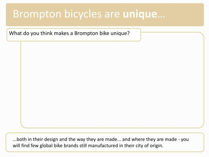 Brompton bicycles are