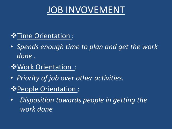 JOB INVOVEMENT