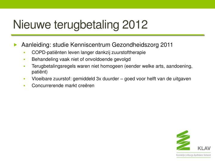 Nieuwe terugbetaling 2012