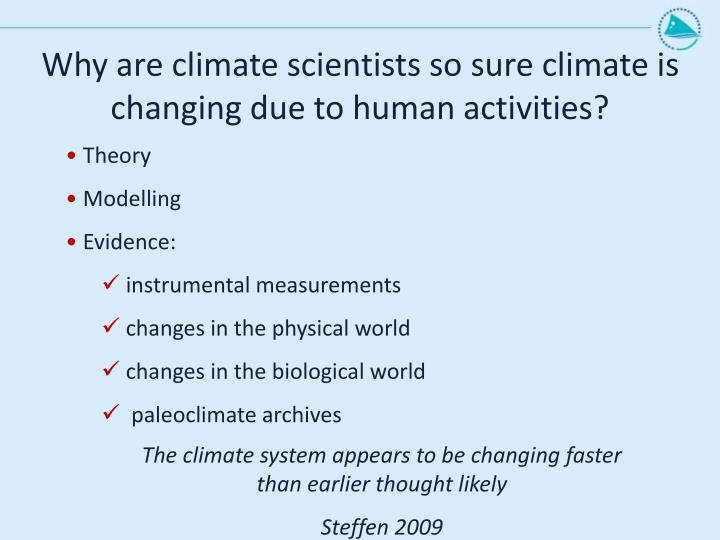 Why are climate scientists so sure climate is changing due to human activities?