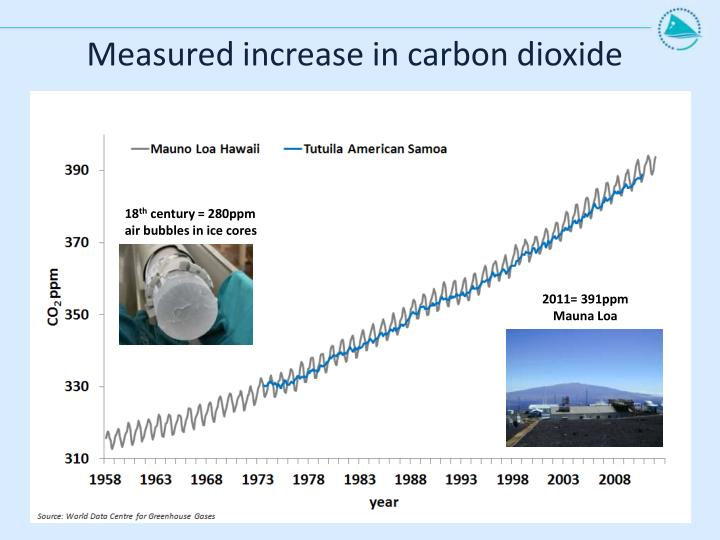 Measured increase in carbon dioxide