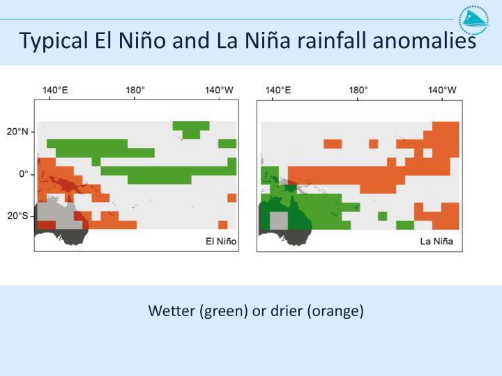 Typical El Niño and La Niña rainfall anomalies