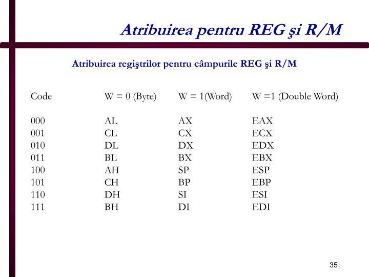 Atribuirea pentru REG şi R/M