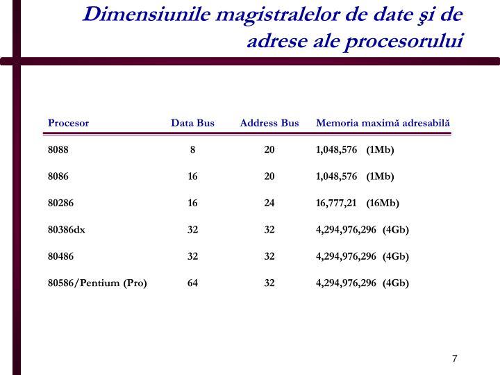 Dimensiunile magistralelor de date şi de adrese ale procesorului