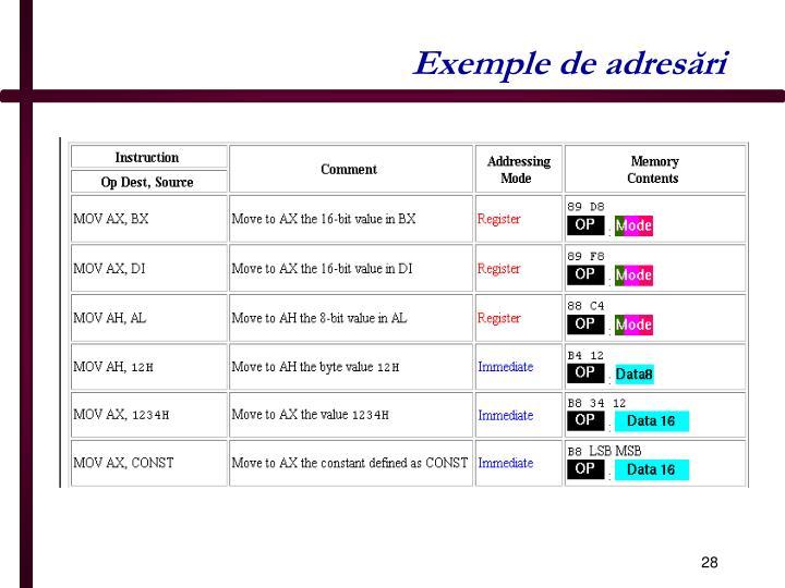 Exemple de adresări