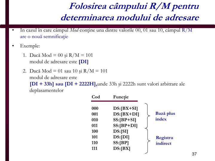 Folosirea câmpului R/M pentru determinarea modului de adresare