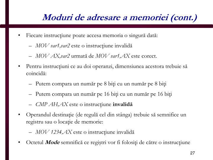 Moduri de adresare a memoriei (cont.)
