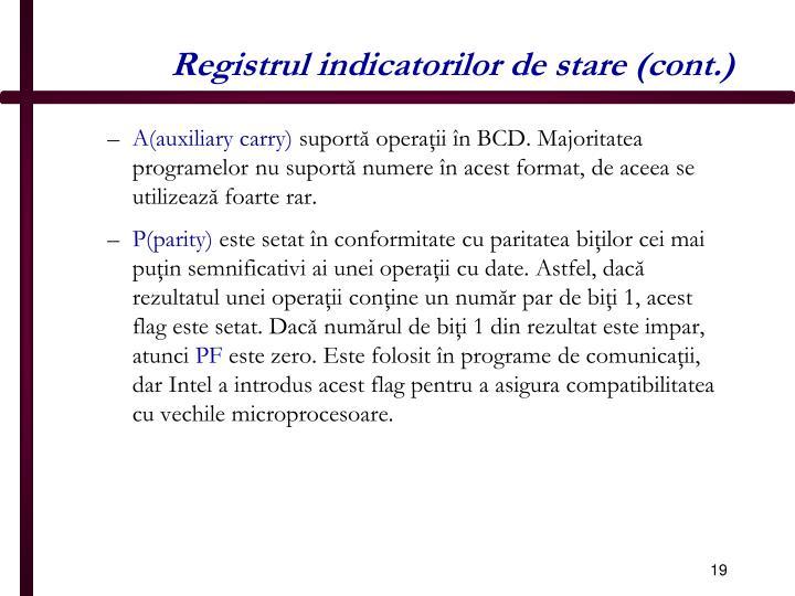 Registrul indicatorilor de stare (cont.)