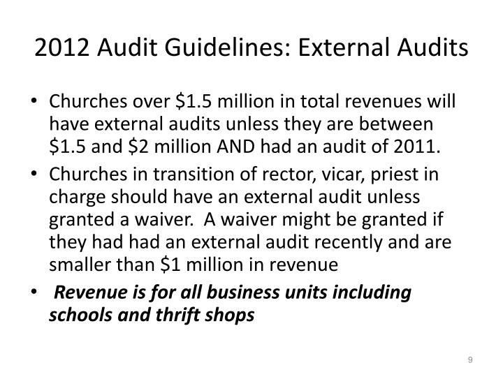 2012 Audit Guidelines: External Audits