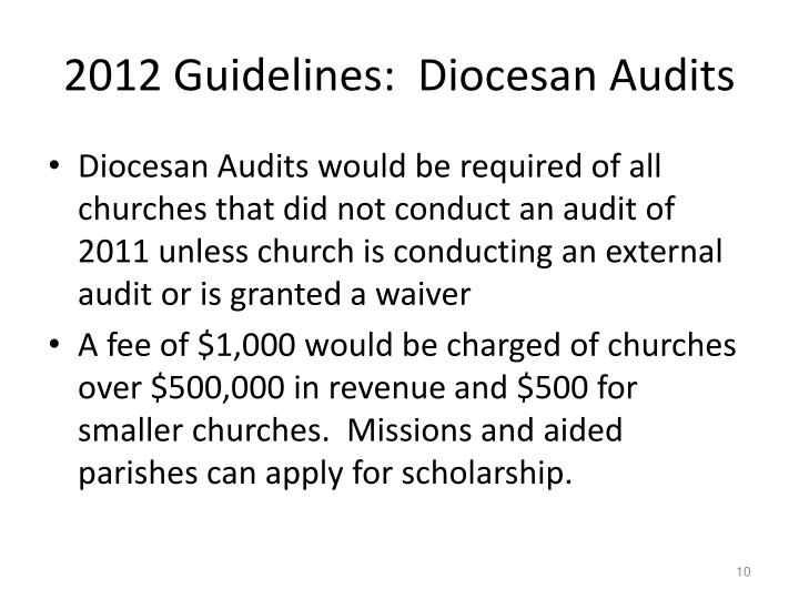 2012 Guidelines:  Diocesan Audits