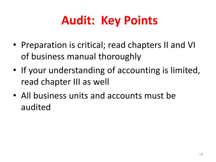 Audit:  Key Points