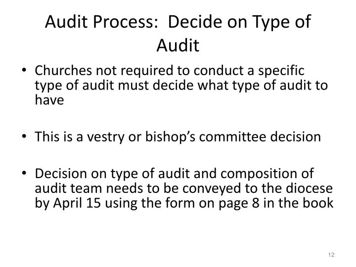 Audit Process:  Decide on Type of Audit